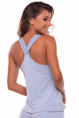 Regata Fitness Dry Fit Azul Garoa